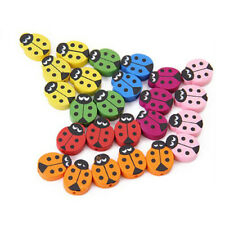 1X(18 PCS Children Wooden Ladybug Beads Q8O7)