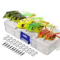6Pcs Large Frog Fishing Lures Tackle Topwater Crankbait Hooks Bass Bait With Box