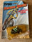 vintage Tyco BLUE POLICE? MOTORCYCLE Racing Bikes HO slot car ON CARD 7004