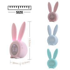 Kids Digital LED Display Alarm Clock Night Light Children Bunny Rabbit Ear US