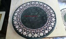 "24"" MARBLE GREEN DINING COFFEE CENTER ROUND TABLE TOP MALACHITE MOSAIC INLAY"