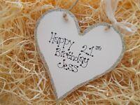 Friends 21st Birthday Wooden Heart Plaque Keepsake Gift