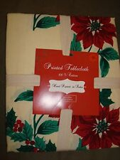 PRINTED TABLECLOTHES 100% COTTON POINSETTIA OR HOLLY