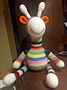 Handmade Crochet Rainbow MultiColored Crochet Plush Stuffed Soft Giraffe Toy