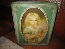Vintage Hinged Tin Bread Box W/Girl Reading Book!!!