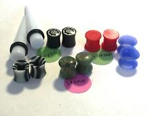6 Pair 00g Ear Plug Stone Double Flare Plugs Silicone Tunnels Acrylic Ear Tunnel