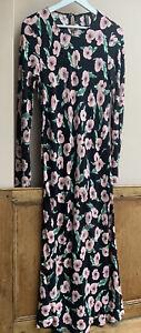 Boho/Hippi Long Sleeved Maxi Dress Black with Pretty Floral Print ~ Zara XL14uk