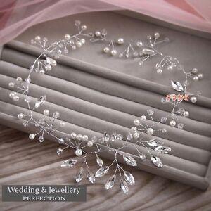 Bridal Flower Hair Tiara Diamante Crystal Pearl Wedding Clip Comb Headband Prom
