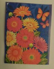 Bright Pink, Orange, Yellow Gerber Daisy Flowers, Butterfly, Summer, House flag