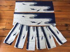 Set of 8 Vtg Mid Century Tenugui Furoshiki Blue Lake Koi Fish Swimming Tea Towel
