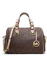 NWT Authentic Michael Kors Grayson Monogram Gold Chain Satchel Brown $348 -Macys