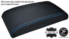 BLUE STITCH CARBON FIBER VINYL ARMREST LID COVER FOR FORD FIESTA MK9 2013-2016
