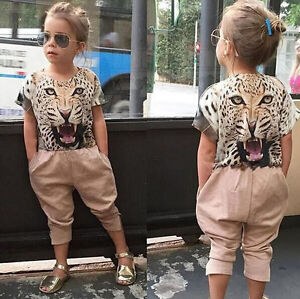 2Pcs Fashion Baby Girls 3D Leopard short sleeves T-Shirt+Pants Summer Clothes