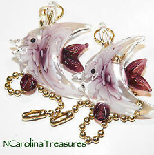 GLASS CEILING FAN SWITCH PULL PURPLE FLORAL OCEAN ANGEL SEA FISH LARGE PAIR F151