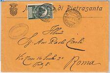 ITALIA REGNO: storia postale - Sass 99  ISOLATO su BUSTA da PIETRASANTA 1913