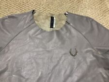 Fred Perry x RICHARD NICOLL Women's Grey Leather SHIRT Zipper Top Size 6 LOGO US