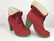 Saint Galant Faux Suede/Fur Chelsea Lace Up Cuban Heel Ankle Cuff Boots Red 4