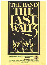BAND  POSTER.  THE LAST WALTZ.  Bob Dylan,  70's rock. Neil Young.