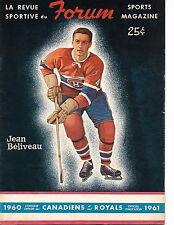 1960-61 Montreal Canadiens-Maple Leafs Program Beliveau Tex Coulter Cover GEM!!
