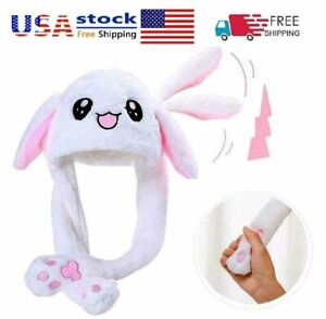 Rabbit Hat Ear Moving Airbag Bunny Cute Plush Funny Soft Cap Headwear Girls Gift