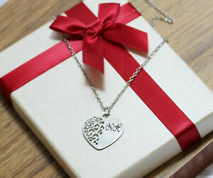 Personalised Filigree Heart Pendant Engraved Monogram Initials Necklace Silver