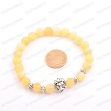 Natural Gemstone Round Beads Lion Head Stretchy Bracelets 8MM Assorted Stones
