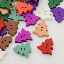 DIY 50PCS Christmas tree Wooden Buttons Sewing Scrapbook 2 Hole Mix 20mm