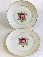 """The Bohemian China Mel Rose V22 Dinner Plate 10"""" Lot Of 2 Scalloped Czechoslovak"""