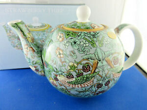 STRAWBERRY THIEF FINE CHINA TEAPOT, 6 CUP from LEONARDO COLLECTION NEW GIFT BOX