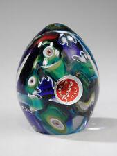 Murano Mid Century Cogwheel Millefiori Art Glass Egg Paperweight