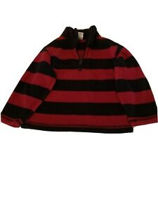 GYMBOREE Boy's Color Red/Black Stripped Half Zip Sweater Top Size 3-4