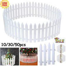 More details for 50x plastic picket fence fencing lawn yard edging garden christmas tree fence