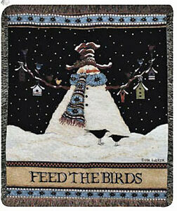 Feed The Birds ~ Mr. Snowman Winter Holiday Tapestry Afghan Throw