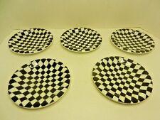 "Set of 5 CHECKERS Bopla Porcelain Espresso plate Series Black & White 6 1/8"""