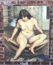 C1940's New York Social Realist Nude Portrait Of A Lady By Joseph Pollet. Signed