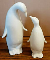 """Crowning Touch White Porcelain 6"""" Mama Penguin & 4.5"""" Baby Figurines JAPAN"""
