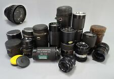 Vintage 35mm Camera Lens Set of 10 Zoom Lenses Tamron Petri Kalimar Kaligar Etc.