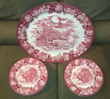 Antique Enoch Woods Porcelain Burslem Turkey Platter 8 Plates Set Transferware