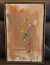 Vintage Mid Century Abstract Still Life Floral Oil Painting Signed Calos Framed