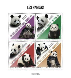 Guinea Wild Animals Stamps 2021 MNH Pandas Giant Panda Fauna 4v M/S