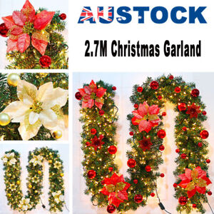 2.7M Christmas Decoration LED Garland String Fairy Lights Wreath Fireplace Tree