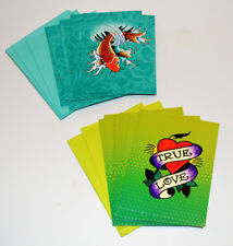 2 Sets Colorful Ed Hardy Notecards/Envelopes- True Love Heart Tattoo & Koi Fish
