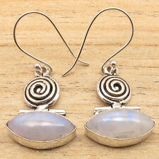 925 Silver Plated Blue Fire RAINBOW MOONSTONE Marquise Gemstone GIRLS' Earrings