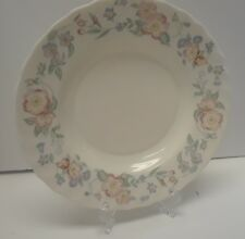 Arcopal France Blue White Floral Soup Salad Plate Bowl Milk Glass 9 inch Wide