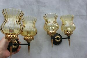 Vintage Set of Two Double Sconces Wall Lamps with Yellow Shades Mid century ligh