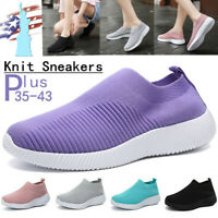 Womens Spring Sneakers Knitting Sock mesh Breathable Slip On Flat shoes Trainers