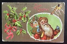 Vintage Christmas Postcard - Santa with Toys, Holly & Gold Background 1910