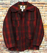 77b14e112dec5 Vtg 60s WOOLRICH Wool Mackinaw Hunting Field Jacket MEDIUM 40 Red Black  Plaid