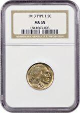 1913 5c NGC MS65 (Type 1) Popular One Year Type Coin - Buffalo Nickel