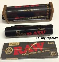 RAW Black 1 1/4 Size Cigarette Papers/ Clipper Lighter/ 79mm Rolling Machine
